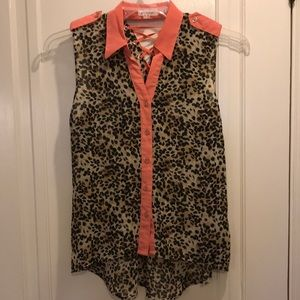 Blu pepper size small cheetah and coral tank top